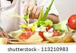 cook cooking vegetables at... | Shutterstock . vector #113210983