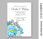 floral wedding invitation or... | Shutterstock .eps vector #1132158893