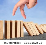 hand stop a dominoes continuous ... | Shutterstock . vector #1132162523