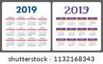 calendar 2019. colorful english ... | Shutterstock .eps vector #1132168343