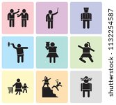 set of 9 simple editable icons... | Shutterstock .eps vector #1132254587