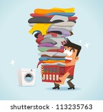 Big Laundry Day - stock vector