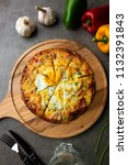 pizza with egg ham and mushrooms   Shutterstock . vector #1132391843