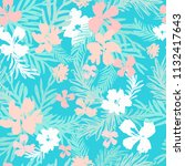 floral background with palm... | Shutterstock .eps vector #1132417643