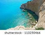 View of porto Katsiki beach, Lefkada Greece - stock photo