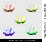 isolated six colorful waterlily ... | Shutterstock . vector #113255143