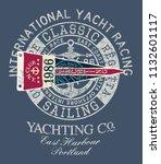 classic vintage yacht  racing...   Shutterstock .eps vector #1132601117