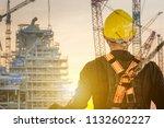 double exposure of construction ... | Shutterstock . vector #1132602227
