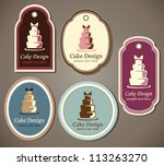 Set of beautiful vintage elegant cake labels - stock vector