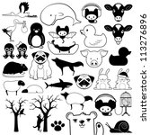 Set of cartoon animal icons with birds fish reptiles wildlife pets - stock vector