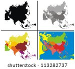 vector   asia map collection | Shutterstock .eps vector #113282737