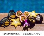 summer composition near pool... | Shutterstock . vector #1132887797