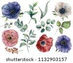 watercolor eucalyptus  anemone... | Shutterstock . vector #1132903157