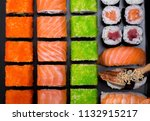 japanese sushi rolls in the... | Shutterstock . vector #1132915217