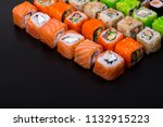 japanese sushi rolls in the... | Shutterstock . vector #1132915223