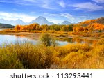 Grand Tetons from oxbow bend - stock photo