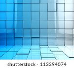 abstract 3d cubes background in blue toned - stock photo