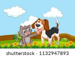 a dog and cat in a garden... | Shutterstock .eps vector #1132947893