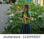 editorial use only  young girl...   Shutterstock . vector #1132955027