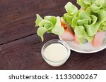 fresh salad roll on white dish... | Shutterstock . vector #1133000267