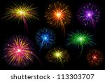 vector illustration of collection of colorful firework - stock vector