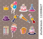 birthday stickers - stock vector