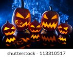 collection of halloween pumpkin ... | Shutterstock . vector #113310517