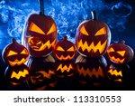 smoking group halloween pumpkins | Shutterstock . vector #113310553