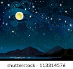 Vector night starry sky with yellow full moon, mountains and calm lake - stock vector