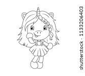 cute baby unicorn coloring page ... | Shutterstock .eps vector #1133206403