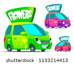 flowers delivery car. cartoon... | Shutterstock .eps vector #1133214413