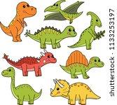 cute cartoon dinosaurs ... | Shutterstock .eps vector #1133253197