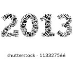 New year 2013 info-text graphics arrangement on white background - stock photo