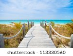 Beautiful beach at Caribbean Providenciales island in Turks and Caicos - stock photo