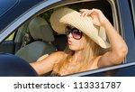 beautiful woman driver in straw ... | Shutterstock . vector #113331787