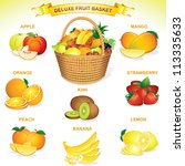 apple,background,banana,basket,beauty,bright,clip art,collection,color,colorful,composition,decoration,delicious,deluxe,filled