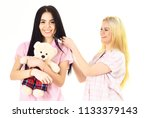 ladies on smiling faces with... | Shutterstock . vector #1133379143