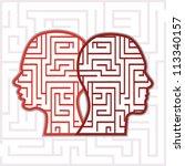 maze heads vector | Shutterstock .eps vector #113340157