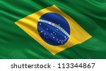 Flag of Brazil waving in the wind - stock photo