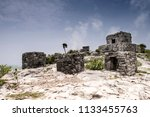 the tulum ruins in the riviera...   Shutterstock . vector #1133455763