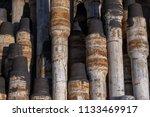 oil drill pipe. rusty drill... | Shutterstock . vector #1133469917