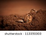 Closeup Of Two Coffee Beans At...