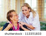 a home care nurse visits a... | Shutterstock . vector #113351833