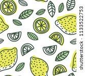 lemon slice seamless pattern.... | Shutterstock .eps vector #1133522753