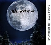 santa flying in his sleigh... | Shutterstock . vector #113354443