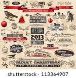 2013 christmas vintage... | Shutterstock .eps vector #113364907