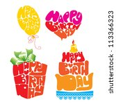 heart  balloon  cake  gift box... | Shutterstock .eps vector #113366323