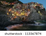 Manarola at Night. Cinque Terre, Italy, - stock photo