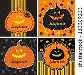 set of halloween cards with...   Shutterstock . vector #113369233