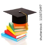 grad hat with books isolated on ... | Shutterstock . vector #113372497